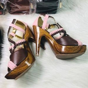 Shoes - 🆕️🔥Vocita Pink Brown Cream Braided Wood Heel